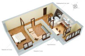 планировка 2х комнатной 52 кв